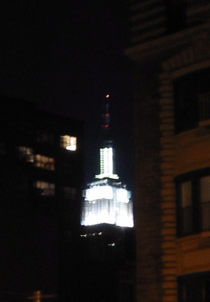 Empire State lit up white, at night